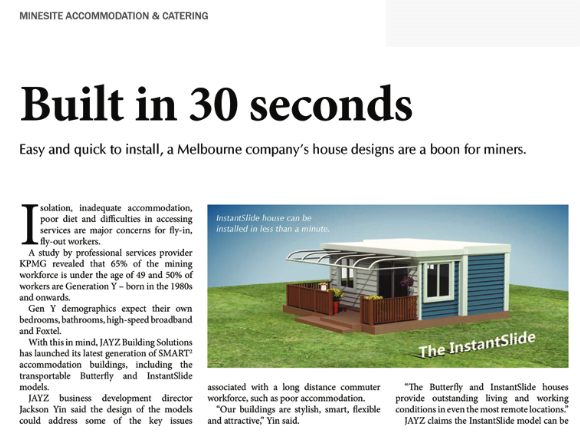 Built in 30 seconds - Australia's Mining Monthly editorial