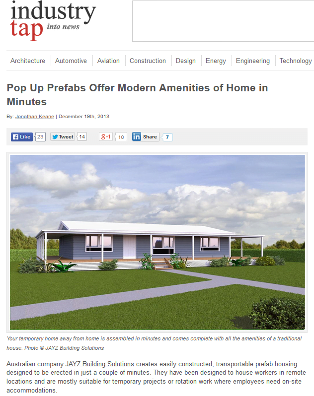 Prefab Homes featured in Industry Tap