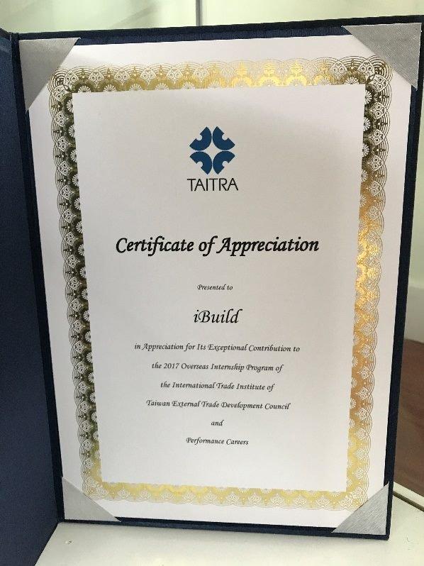 TAITRA Certificate of Appreciation Presented to iBuild